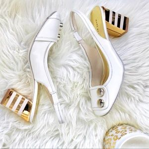 Marc By Marc Jacobs Creme Block Heel W/Gold Accent